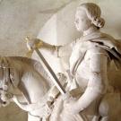 Statue de Saint Martin (nef) ; restauration Dom Adolphe Le Méhauté